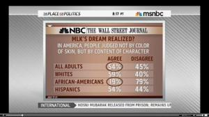 An MSNBC Wall Street Journal Poll was displayed in question in race relations.